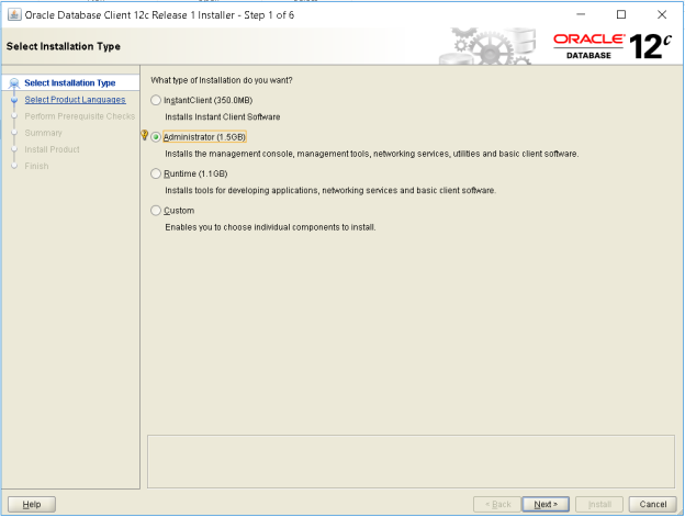 Installing Oracle Database 12c client on windows 10 64 bit machine