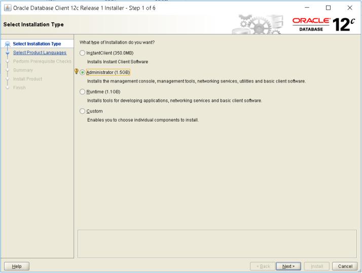 Installing Oracle Database 12c client on windows 10 64 bit