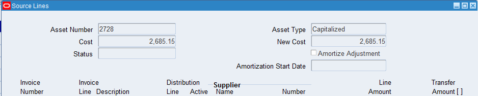 How to Make a Cost Adjustment to an Asset in Oracle R12